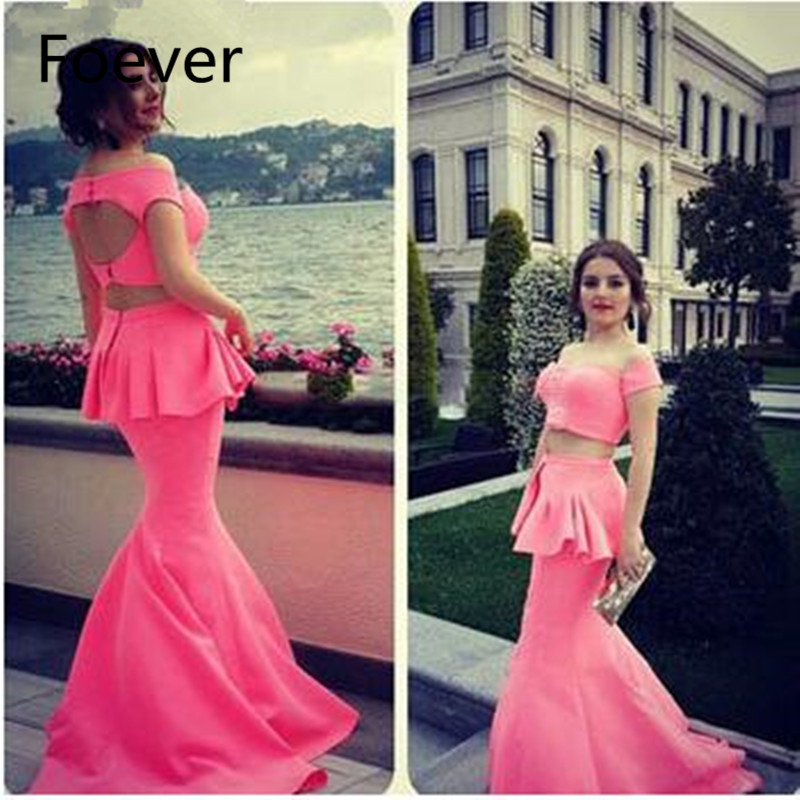 Two Pieces Hot Pink Mermaid Prom Dresses Sexy Off Shoulder Keyhole Peplum Long Evening Prom Dress 2019 Robe De Soiree