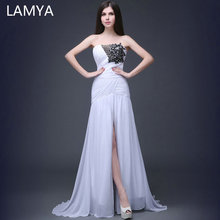 LAMYA White Slit Mermaid Evening Dress Banquet Elegant Sweetheart Floor-length Party Formal Gowns Lace Up Vestido De Noche