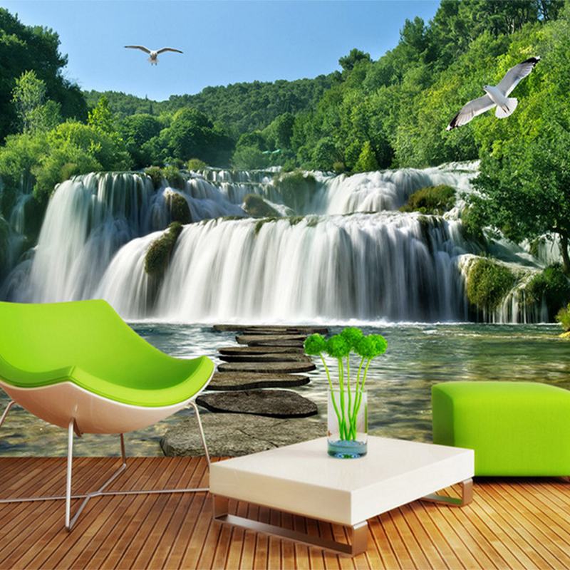 Custom Photo 3D Wall Mural Nature Landscape Waterfall Sofa TV Background Wall home decor 3d wallpaper for Living room wholesale 3d stereo relief peacock flowers mural photo wallpaper living room tv sofa study backdrop art wall paper for walls 3d home decor