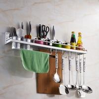 Новый кухня хороший помощник посуда алюминий стеллаж для хранения Организатор с Крючки чашки Multi Функция Spice держатель инструменты #232423