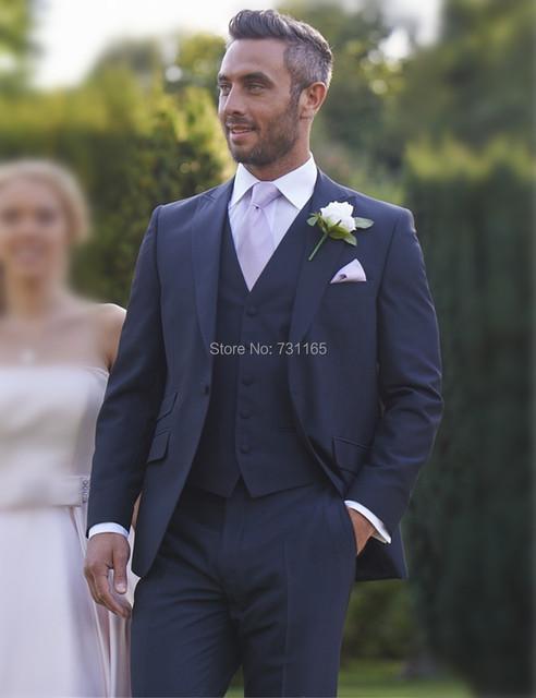 Azul marinho Novo Design Ternos de Casamento slim fit blazer Men Suit Custom Made 3 peça Terno Do Noivo Do Casamento (jaqueta + calça + colete)