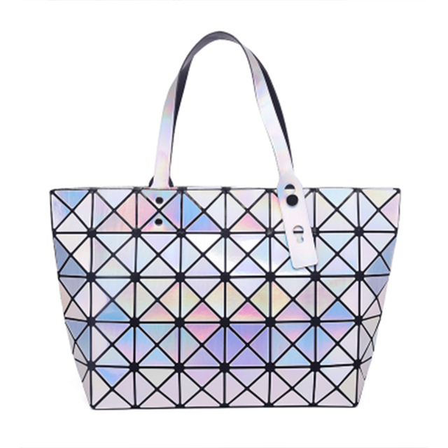 Bolsas da moda Geometria Lantejoulas Luminosas Do Laser Espelho Plain Sacola Mulheres Ombro Bao Bao Sacos para Adolescentes Menina