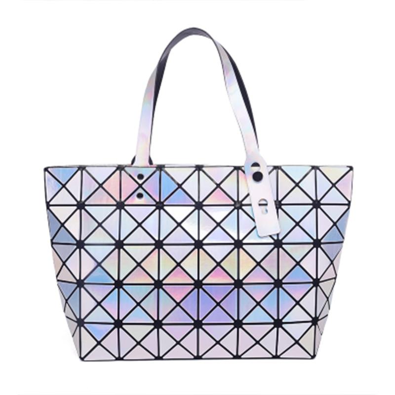 Fashion Handbags Laser Geometry Luminous Sequins Mirror Plain Tote Women Shoulder Bao Bao Bags for Teenage