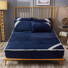 Winter velvet plush bed fitted sheet Quilted Thicken Non-slip All inclusive Bed cover mattress protective case Free Shipping