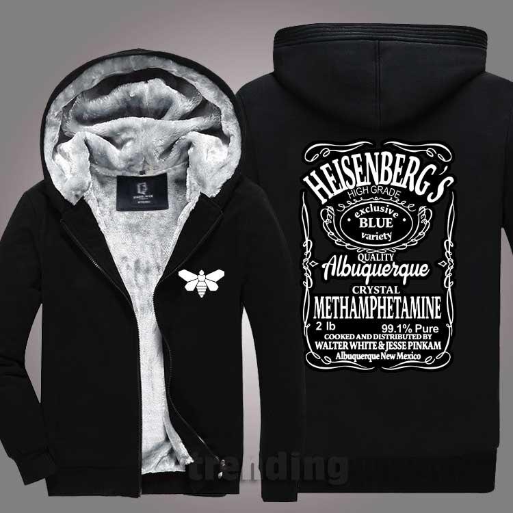 New fashion Men women Warm Thick Coat Jacket winter Breaking Bad Heisenberg Hooded Zippers Street velvet Sweatshirt top Hoodies