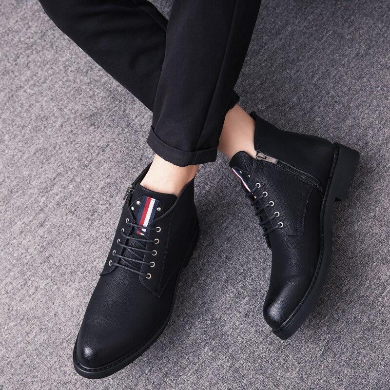 Véritable Black Haute Bottes Hiver Hommes Chaussures Mode En K4 Cuir Casual Moto Style Classique Qualité De Vintage BAEqx