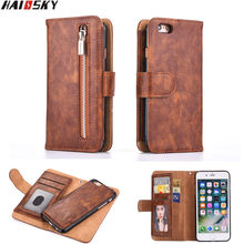 Haissky Flip Leather Cover For iPhone 5 5S SE Case Zipper Pouch Card Slots Wallet Handbag Phone Case For iPhone 7 Plus 6 6s Plus(China)
