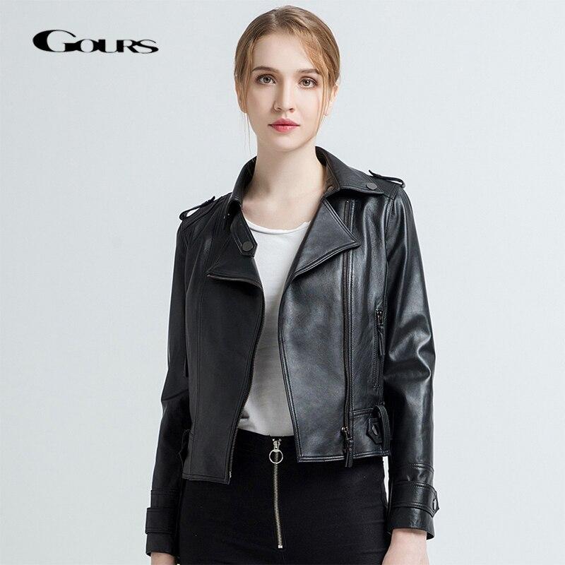 Gours Women's Genuine Leather Jackets Female Fashion Short Motorcycle Jacket Black Classic Punk Style Ladies Sheepskin Coats 712