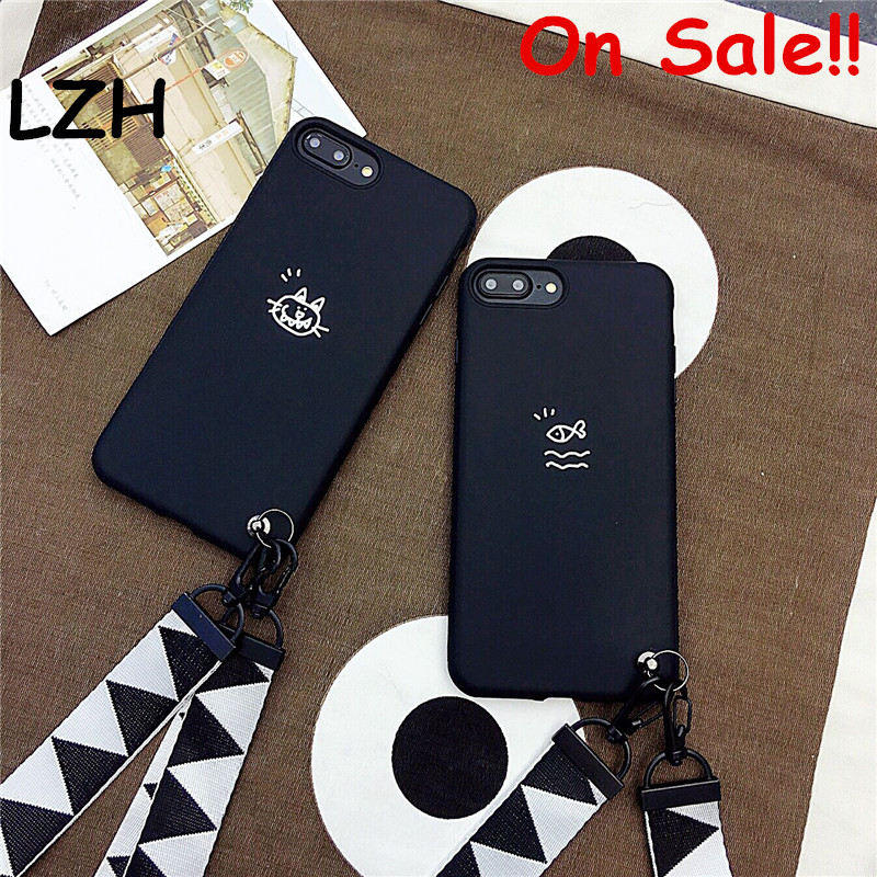 official photos a103c faa71 US $3.42 30% OFF|Cute Cat Black Hand Rope Protective Phone Case for Apple  iPhone XS Max Fish Lanyard Strap Soft TPU Cover for iPhone 6S 7 8 Plus-in  ...