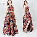 Africano Dashiki vestido mulheres Desenhos de Moda vestidos longos robes femmes duas peças bazin riche bazin riche dashiki plus size WY699