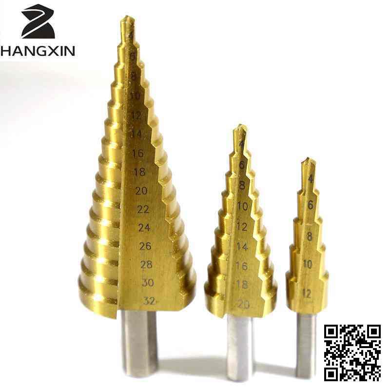 4-32mm titanium hss kegel, multifunctionele boorset, rechte groef freesboor ruimer driehoek handvat houtbewerkingsgereedschap
