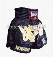 Freies verschiffen 2014 gold double dragon männlichen und weiblichen Muay Thai shorts bestickt schwarz satin importiert Mickey Muay Thai Shorts