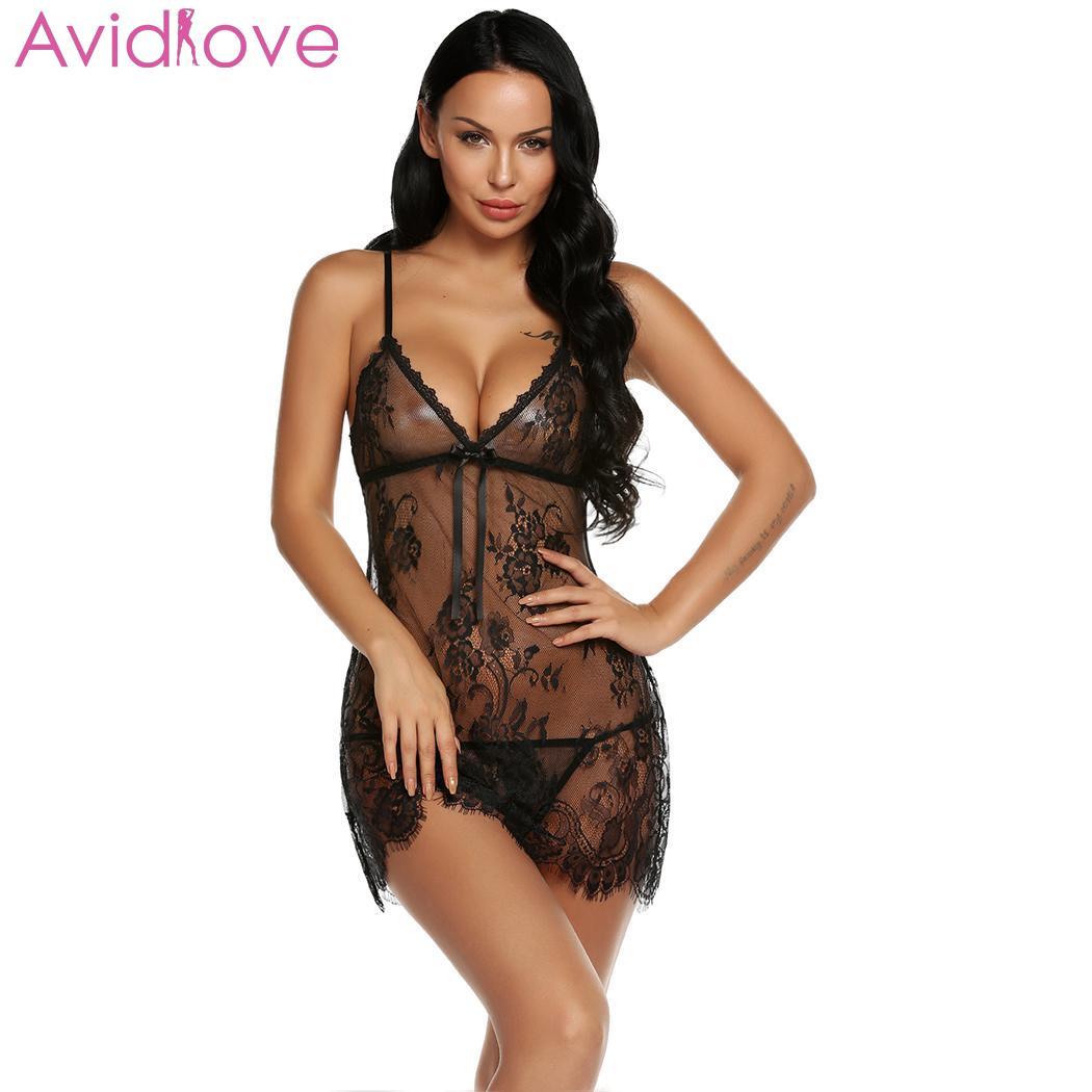 Avidlove Women Sexy Lingerie Open Back Erotic Lace Babydoll Chemise Hot Nightgown With G-String Nightwear Mesh Nighty Babydoll