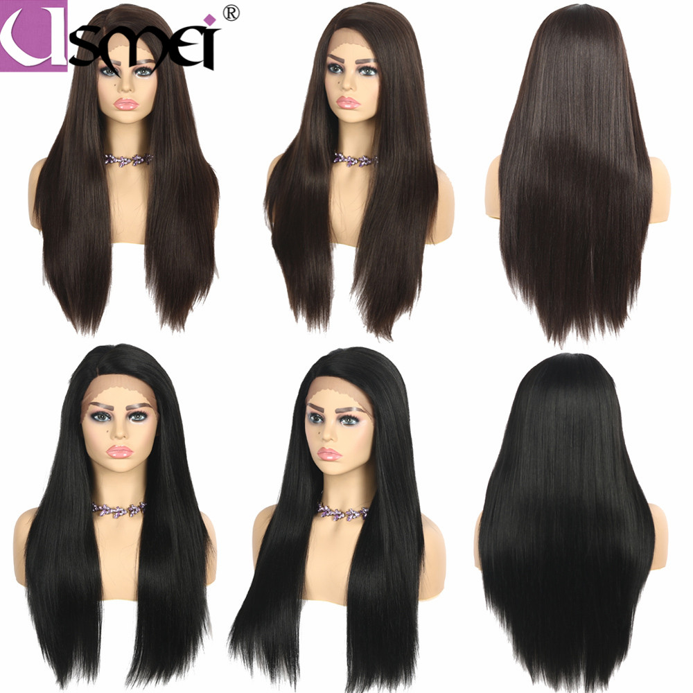 USMEI Lace front wig Yaki straight long synthetic fiber L Part black 99J Brown for women cosplay Heat Resistant Handmade wigs in Synthetic Lace Wigs from Hair Extensions Wigs