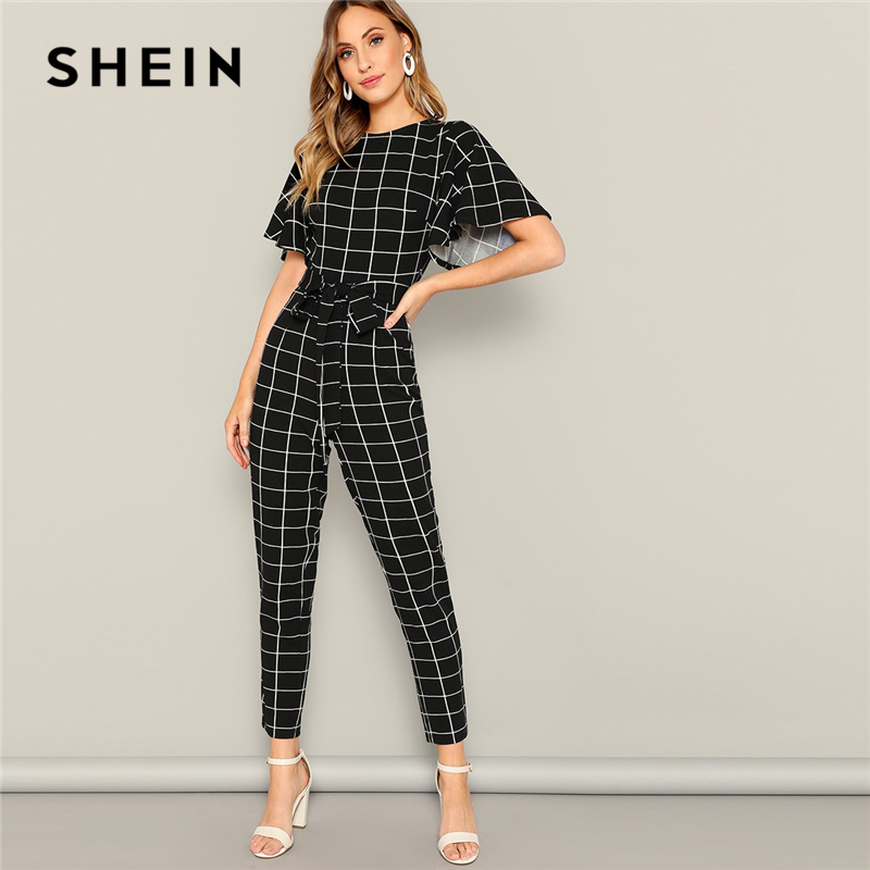 SHEIN Black Flutter Sleeve Belted Grid Print Zipper   Jumpsuit   Spring Mid Waist Casual Round Neck Highstreet Women   Jumpsuits