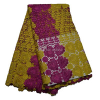 3GW7 Fashionable African Material French Lace Braided with stones For Dress ,Switzerland Chemical Lace Fabrics yellow and pink