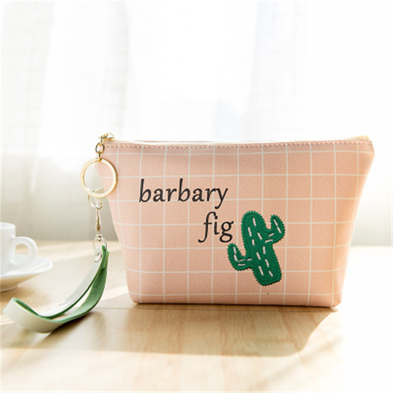 Laamei Embroidery Cartoon Bag Women Check Print Girls Purse Money Bag Change Pouch Coin Wallet Key Holder Portable Wallet