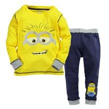 2016 new Children's Clothing Sets baby boy sports suit sets Despicable Me Minions cotton cartoon T-shirt+casual long pants