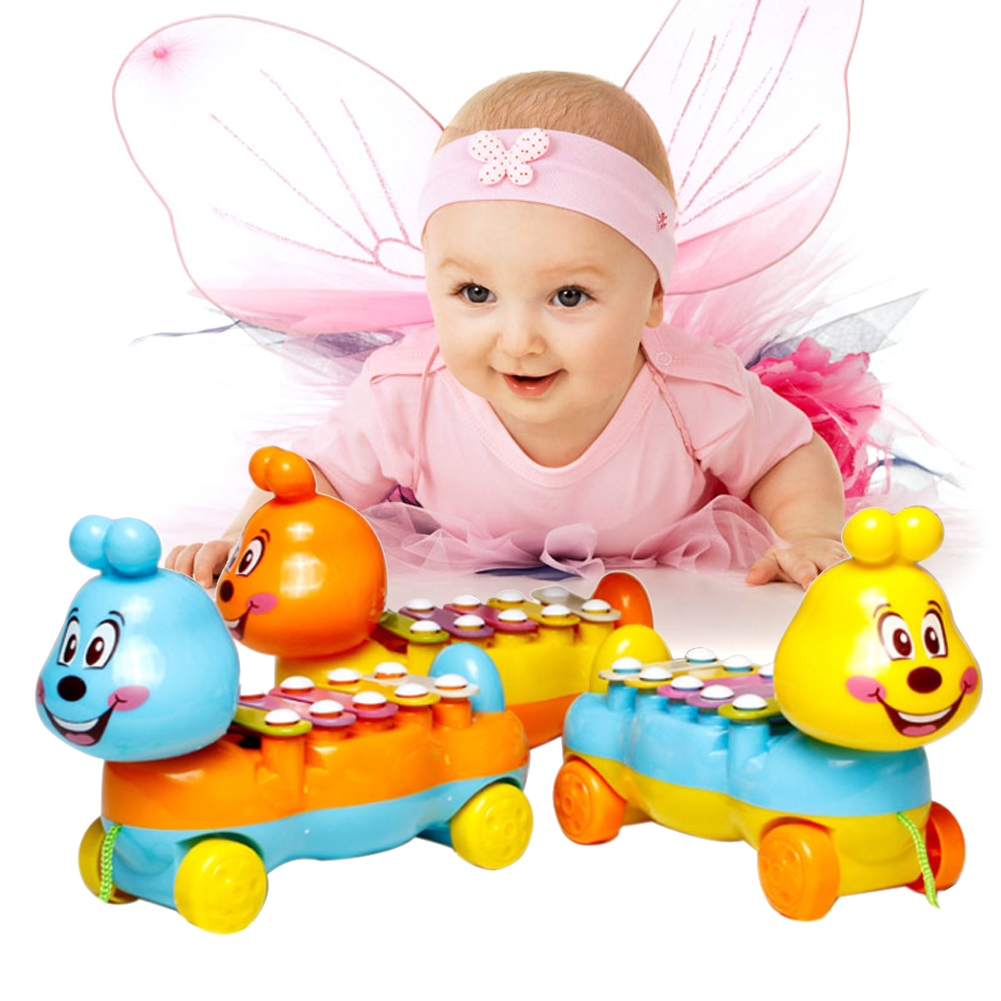Cartoon Caterpillar Glockenspiel Baby Kids 5 Scales Musical Toy Drawable Toy Musical Instrument Random Color