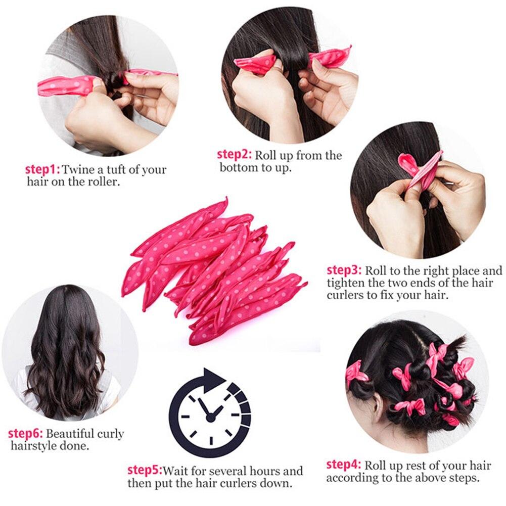 Купить с кэшбэком 30Pcs Magic Hair Rollers DIY Rabbit ears ponge Pillow Flexible Hair Curlers Rollers Lovely spot DIY Curly Hair Styling Tools