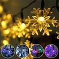 Bling do floco de neve à prova d' água 5 m multicolor levou luz de fadas 20 led luz cordas natal festa de casamento ao ar livre decoração da lâmpada