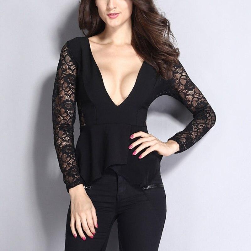949e112cc Elegante cuello en V profundo diseño mangas largas camisas negras de encaje  bordado blusa con volantes para mujer fiesta la ropa del baile PL25189 en  Blusas ...