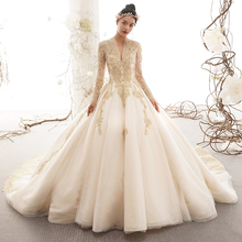 Luxury Wedding Dress 2019 Gold Appliques Bridal Gown Long Sleeves Formal  Dress Back Lace Up Bridal 840c7e6cf67b