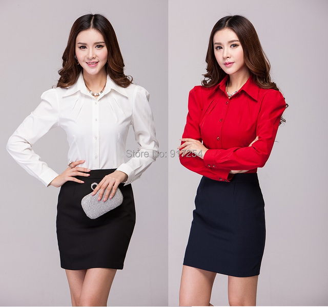 2015 New Feminino Professional Office Suits With Formal Blouses And Skirt Autumn Winter Elegant Uniforms Skirt Suits Plus Size