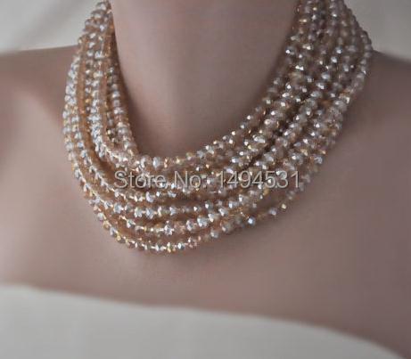 Gros bijoux en cristal couleur Champagne perles de cristal argent plaqué fermoir collier 10 rangées bijoux de gemme-XZN161