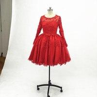 Красный бальное платье до колен Выпускные платья 2018 Sheer одежда с длинным рукавом Тюль И Кружева Формальное вечернее платье для вечерние пла