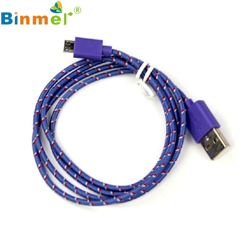 Adroit Purple Color Rope Micro USB Charger Data Sync Charging Cable Cord for HTC for Nokia for Samsung FEB19 drop shipping