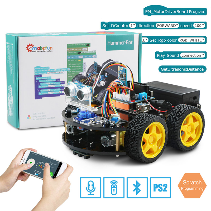 Emakefun For Arduino Robot 4WD Cars APP RC Remote Control Bluetooth Robotics Learning Kit Educational Stem Toys for Children Kid super bowl ring 2019