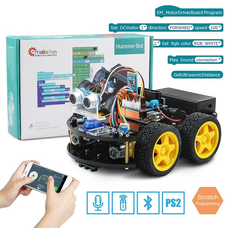Emakefun لاردوينو روبوت 4WD سيارات APP جهاز التحكم عن بعد بلوتوث الروبوتات التعلم كيت التعليمية الجذعية لعب للأطفال طفل-في لعب قابلة للبرمجة من الألعاب والهوايات على  مجموعة 1