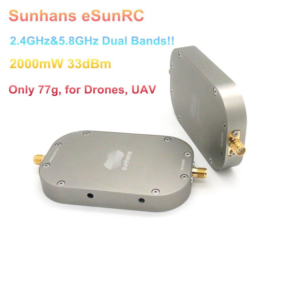 2 pièces Sunhans eSunRC 2.4 GHz & 5.8 GHz double bande 2000 mW 33dBm amplificateur de Signal Wifi amplificateur de Signal WiFi pour Drones, aéronef sans pilote (UAV), seulement 77g