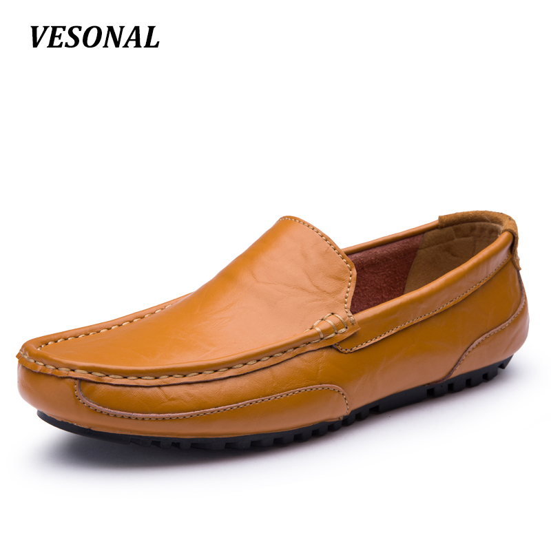 VESONAL Genuine Leather Hollow Out Summer Luxury Flats Loafers Men Shoes Boat Casual Fashion Slip On Driving Breathable V2028 vesonal 2017 summer luxury driving breathable genuine leather flats loafers men shoes casual fashion slip on size 38 44 v1602