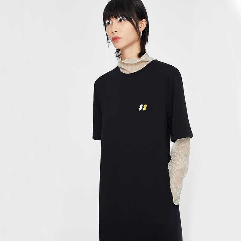 Toyouth Макси футболка платье для женщин Лето с буквенным принтом Повседневная элегантная винтажная повязка свободные черные длинные платья