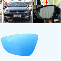 Power Heated Blue Wide Angle Sight Side Rear View Mirror Glasses For VW Passat 2011 2017