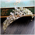 Vintage baroque gold leaf crystal bridal crowns wedding hair accessories bride headbands headpiece rhinestone tiara diadem crown