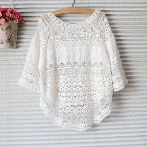 Tops y blusas de encaje de verano del 2020 para Mujer, Camisa femenina, Blusa de Mujer, Camisa coreana para Mujer, protección solar caliente