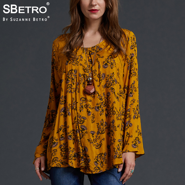 d79789e4e48e SBetro by Suzanne Betro Lace Floral Print Blouses Shirts Yellow Crew neck  Eyelet Long Bell Sleeve Casual Tunic Tops Blouse Women