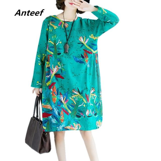 da3e5bcfca Anteef red cotton linen plus size vintage floral print clothes women casual  loose midi spring autumn dress vestidos 2018 dresses