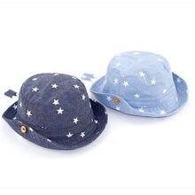 4195318c49703 Soft Cotton Summer Baby Sun Hat Infant Boys Girls Star Bucket Hat Denim  Cotton Toddler Kids Denim Cotton Tractor Cap