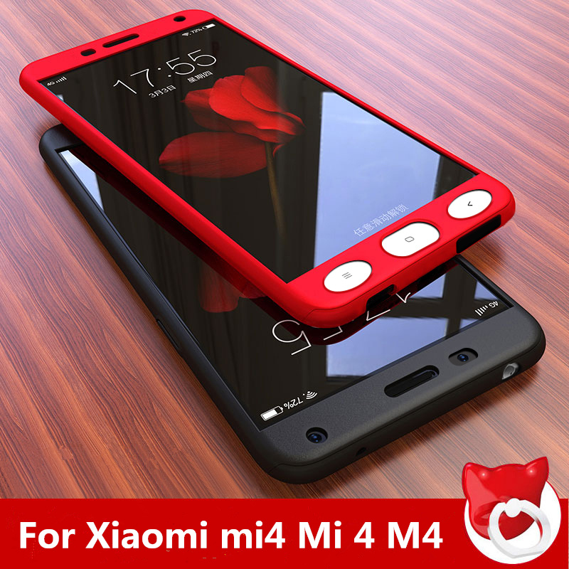 For Xiaomi mi4 Mi 4 Case 5.0 Hard Shockproof Cover 360 Full Coverage Degree Protective Tempered Glass on For Xiami Mi4 M4 Cover