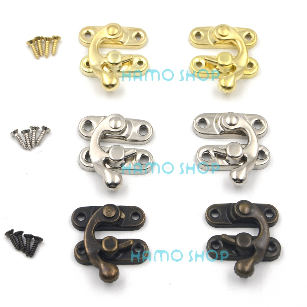 6pcs 29x33mm Mix 3 Colors Antique Decorative Jewelry Gift Wine Wooden Box Hasp Latch Hook With Screws DIY 12pcs antique decorative jewelry gift wine wooden box hasp latch hook 4 screws s08 drop ship