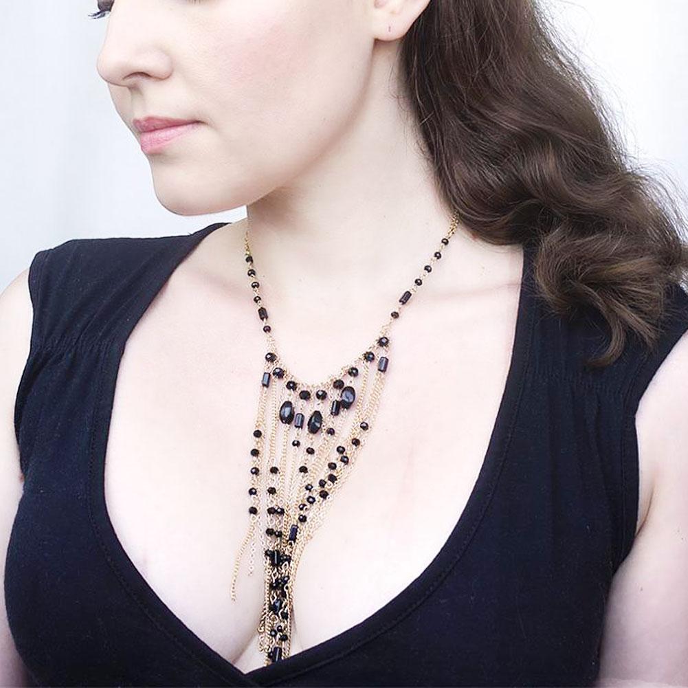 2017 New Women Luxury Crystal Tassel Bib Statement Chain Pendant Choker Necklace