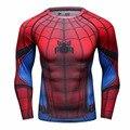 2016New Compresión de Fitness Tops y Camisetas de Los Hombres Superman Batman Capitán América Spiderman Iron Man camiseta Ropa Suave