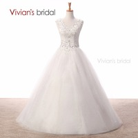 Vivian S Bridal Cheap White Wedding Dress Ball Gowns V Neck Appliques Wedding Gown Bridal Dresses
