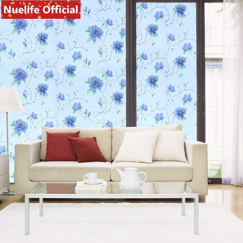 90x200 cm Couleur papillon plante fleur motif verre film de toilette salon chambre enfants chambre balcon porte fenêtre film UNE
