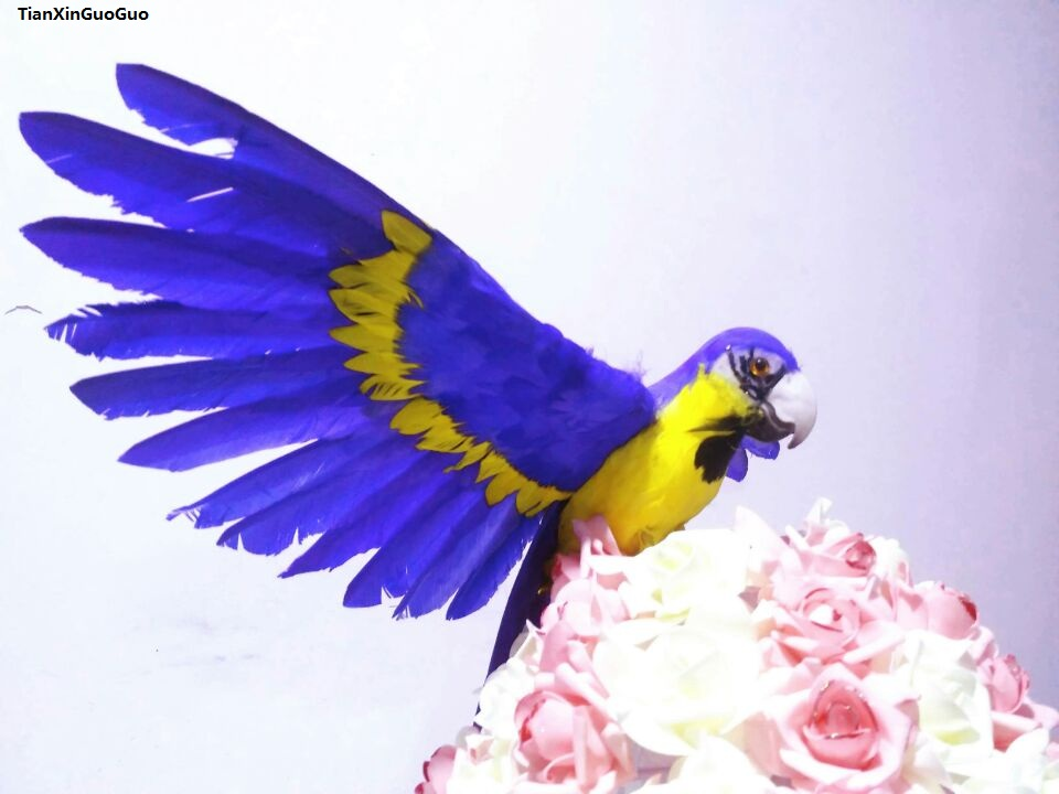 large 35x50cm yellow-dark blue spreading wings feathers parrot bird hard model prop,garden decoration ornaments gift s1454