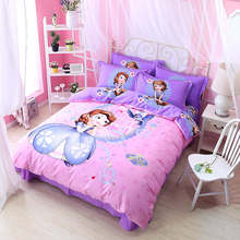 Purple Pink Sofia Princess Disney Comforter Bedding Set Twin Queen King Size Bed Duvet Covers 100% Cotton Girls Home 3-5 pieces